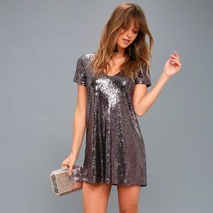Light Up the Night Lavender Sequin Shift Dress